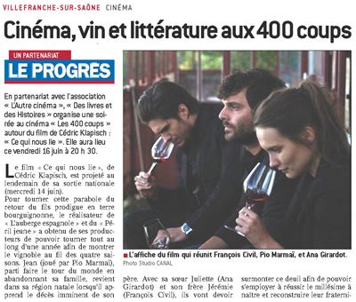 Cin ma vin et litt rature aux 400 coups villefranche le progr s - Cinema les 400 coups villefranche ...